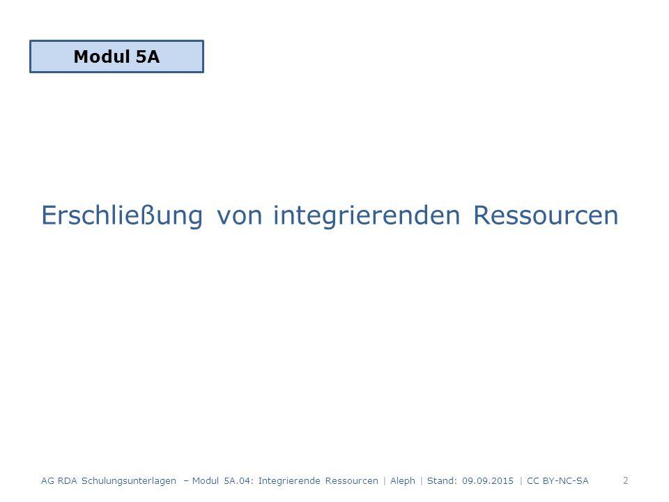 33 AG RDA Schulungsunterlagen – Modul 5A.04: Integrierende Ressourcen | Aleph | Stand: 09.09.2015 | CC BY-NC-SA Beispiel: Äquivalenzbeziehung zu einer CD- ROM-Ausgabe mit gleichem Titel Äquivalenzbeziehung unstrukturiert AlephRDAElementErfassung 50127.1.1.3 In Beziehung stehende Manifestation $a Erscheint auch als CD-ROM-Ausgabe