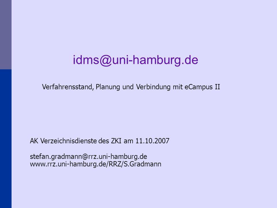Verfahrensstand, Planung und Verbindung mit eCampus II AK Verzeichnisdienste des ZKI am 11.10.2007 stefan.gradmann@rrz.uni-hamburg.de www.rrz.uni-hamburg.de/RRZ/S.Gradmann idms@uni-hamburg.de