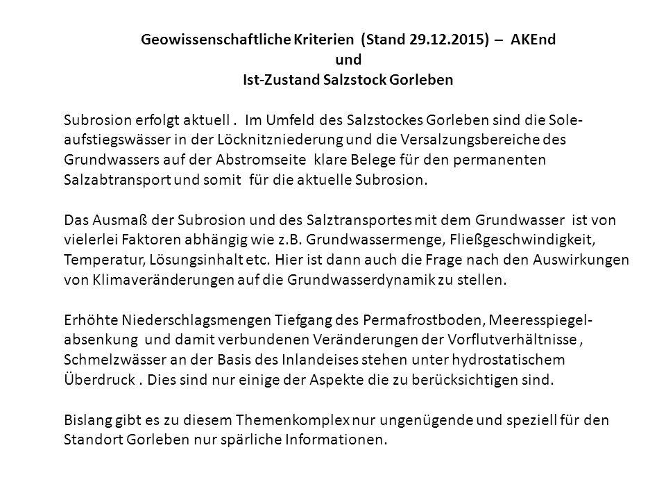 Geowissenschaftliche Kriterien (Stand 29.12.2015) – AKEnd und Ist-Zustand Salzstock Gorleben Subrosion erfolgt aktuell. Im Umfeld des Salzstockes Gorl