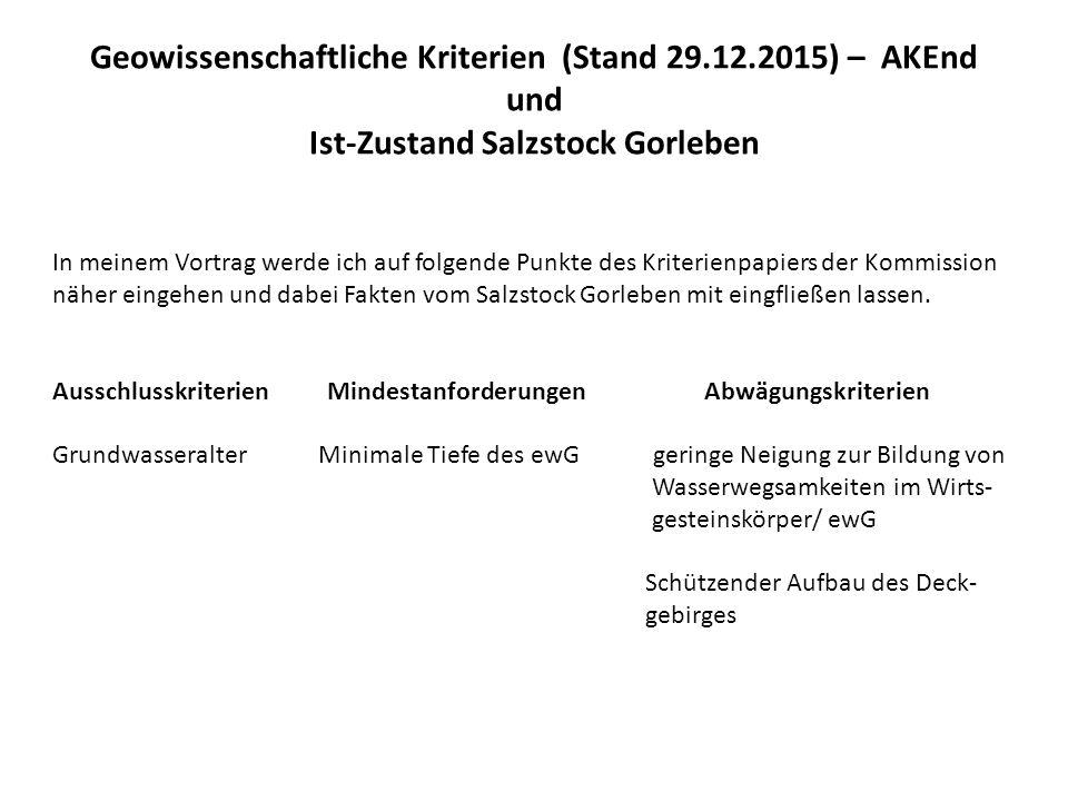Geowissenschaftliche Kriterien (Stand 29.12.2015) – AKEnd und Ist-Zustand Salzstock Gorleben Ausschlusskriterium Grundwasseralter Kommission: Im einschlusswirksamen Gebirgsbereich bzw.