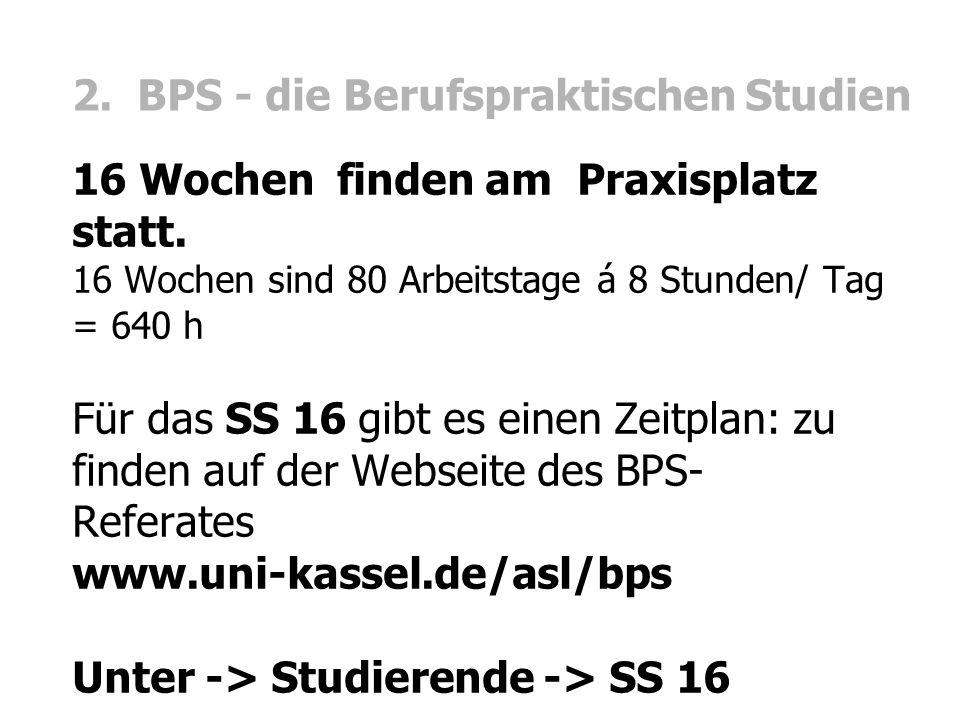 2. BPS - die Berufspraktischen Studien 16 Wochen finden am Praxisplatz statt.