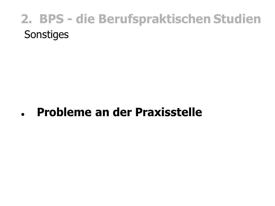 2. BPS - die Berufspraktischen Studien Sonstiges Probleme an der Praxisstelle