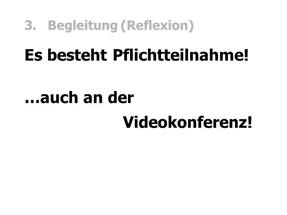 3. Begleitung (Reflexion) Es besteht Pflichtteilnahme! …auch an der Videokonferenz!