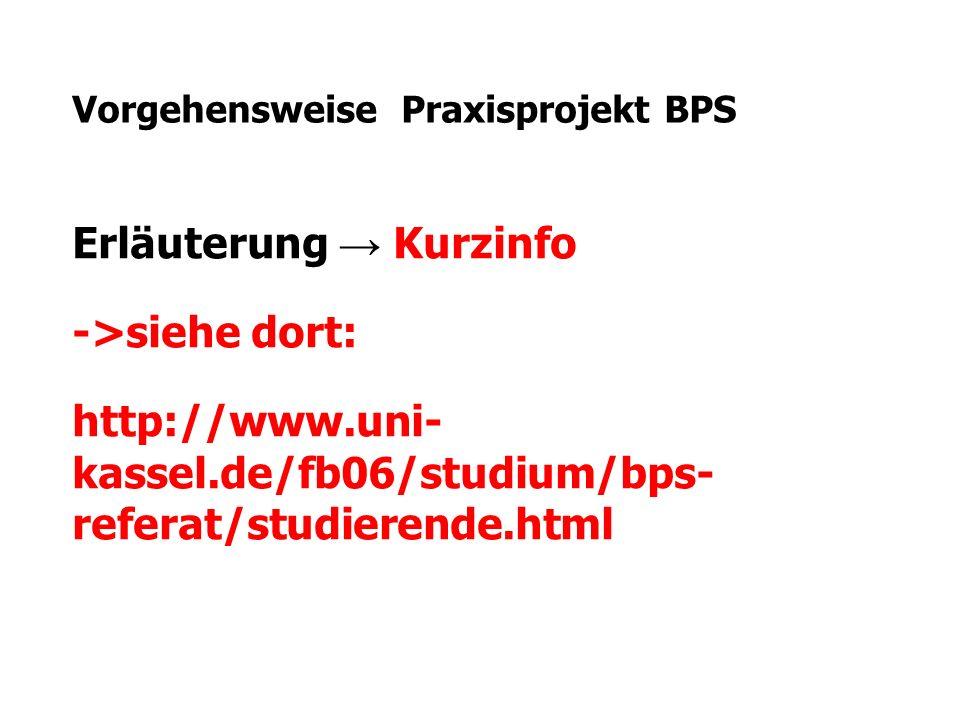 Vorgehensweise Praxisprojekt BPS Erläuterung → Kurzinfo ->siehe dort: http://www.uni- kassel.de/fb06/studium/bps- referat/studierende.html