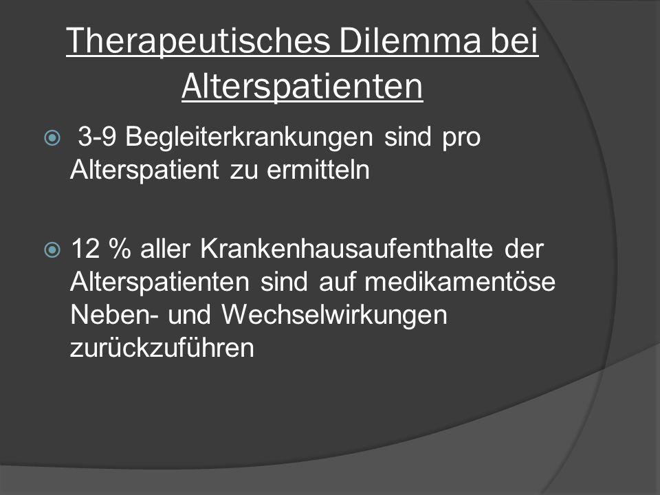 Therapeutisches Dilemma bei Alterspatienten  3-9 Begleiterkrankungen sind pro Alterspatient zu ermitteln  12 % aller Krankenhausaufenthalte der Alterspatienten sind auf medikamentöse Neben- und Wechselwirkungen zurückzuführen