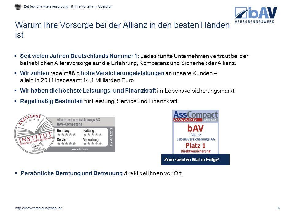 Warum Ihre Vorsorge bei der Allianz in den besten Händen ist 16  Seit vielen Jahren Deutschlands Nummer 1: Jedes fünfte Unternehmen vertraut bei der
