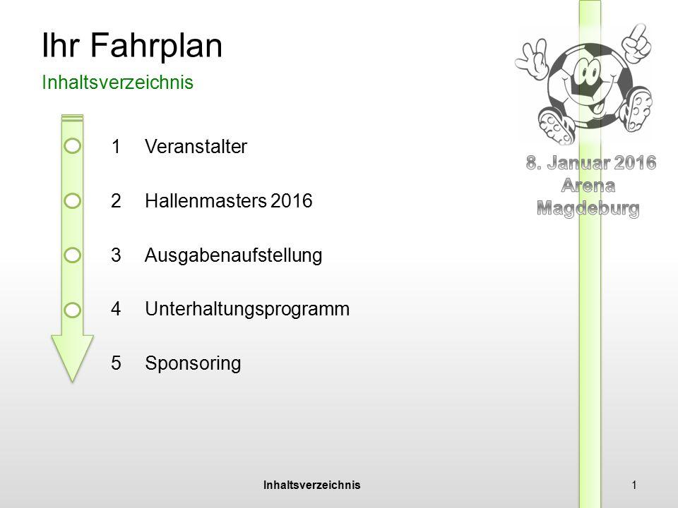Veranstalter Hallenmasters 2016 Ausgaben Unterhaltung Sponsoring 2 Florian Beil Fußball GmbH Gründung: 2013 in Magdeburg bestehend aus einem Team von 6 Mitarbeitern Planung, Organisation und Durchführung von Sportevents Information 1 Veranstalter