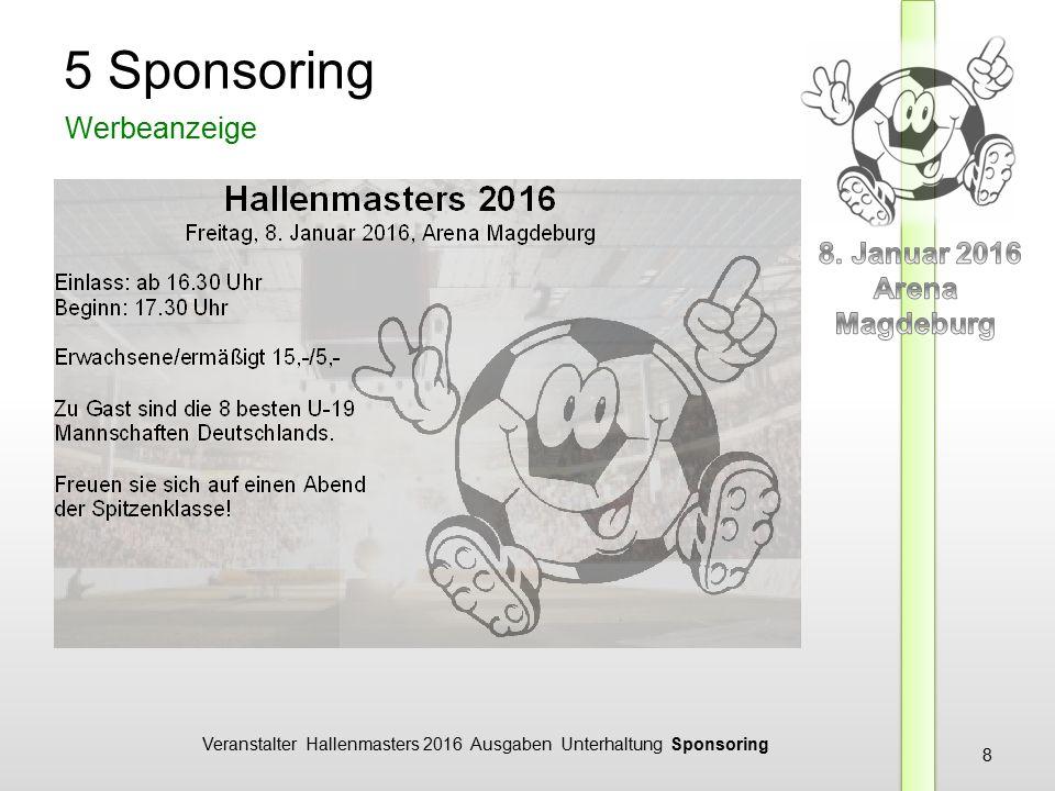 Veranstalter Hallenmasters 2016 Ausgaben Unterhaltung Sponsoring 8 5 Sponsoring Werbeanzeige