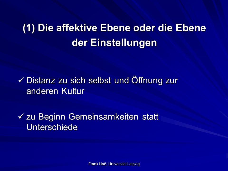 Frank Haß; Universität Leipzig (1) Die affektive Ebene oder die Ebene der Einstellungen Distanz zu sich selbst und Öffnung zur anderen Kultur Distanz