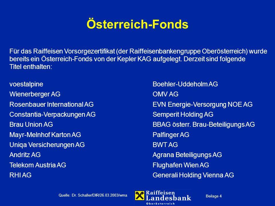 Beilage 4 Quelle: Dr. Schaller/DIR/26.03.2003/wma Österreich-Fonds Für das Raiffeisen Vorsorgezertifikat (der Raiffeisenbankengruppe Oberösterreich) w