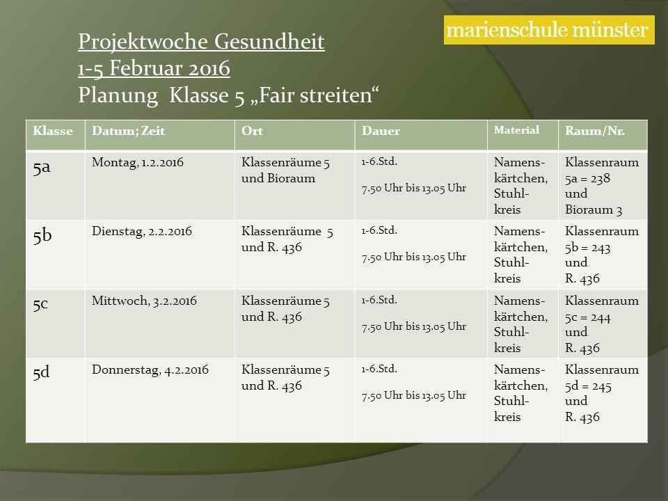 KlasseDatum; ZeitOrtDauer Material Raum/Nr. 5a Montag, 1.2.2016Klassenräume 5 und Bioraum 1-6.Std.