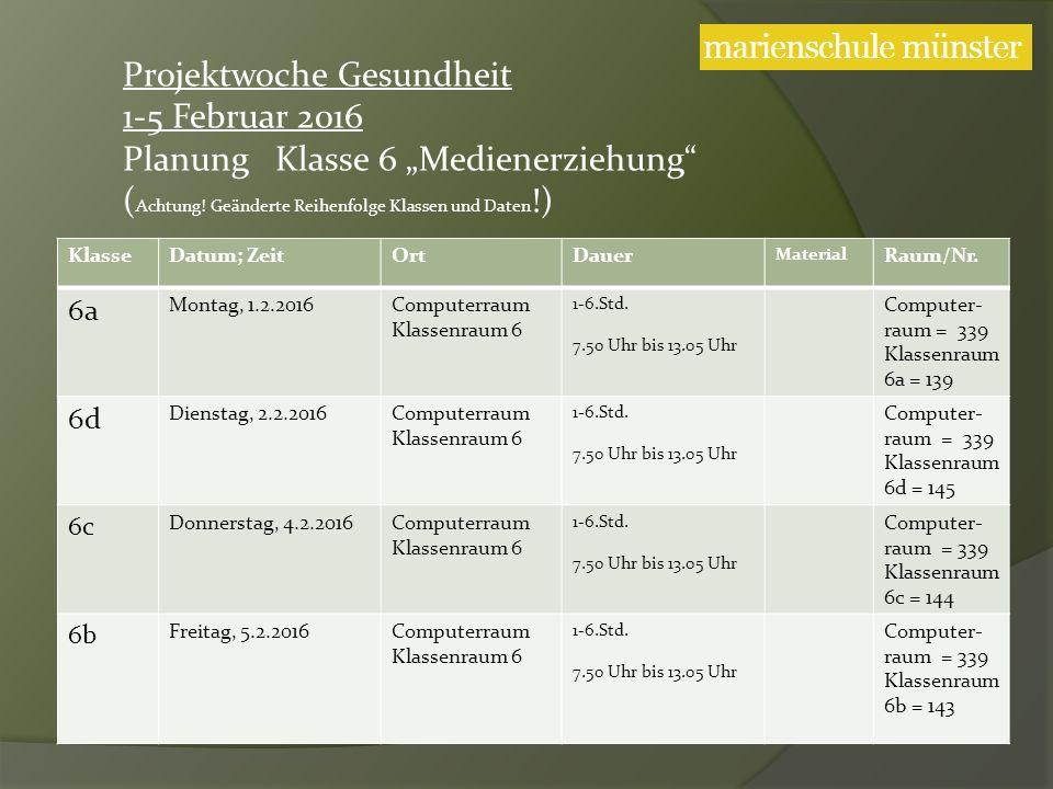 KlasseDatum; ZeitOrtDauer Material Raum/Nr. 6a Montag, 1.2.2016Computerraum Klassenraum 6 1-6.Std.