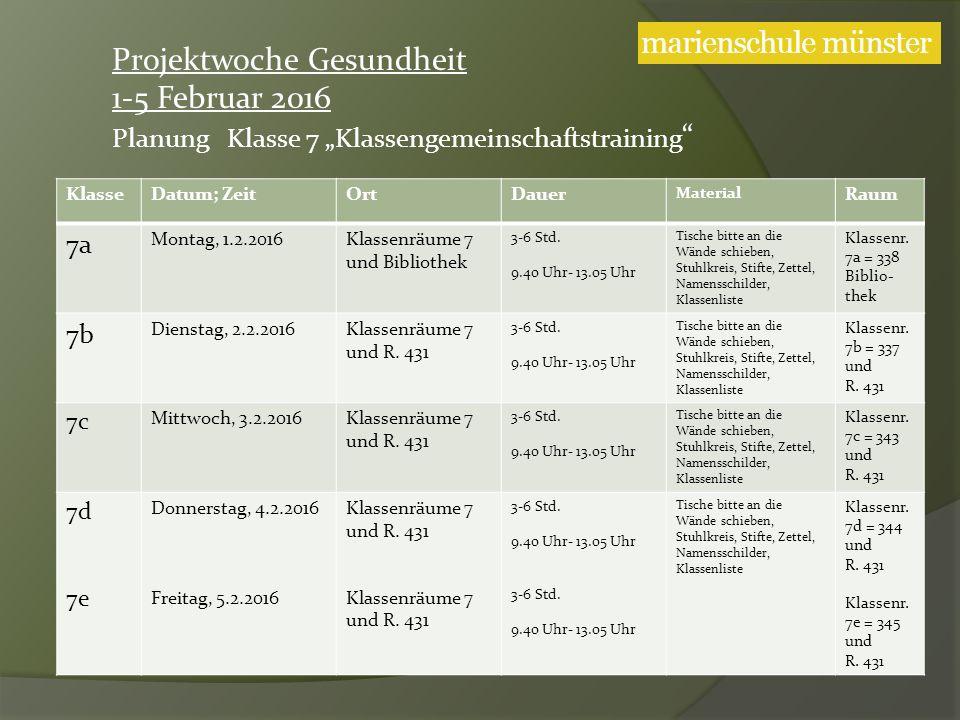 KlasseDatum; ZeitOrtDauer Material Raum 7a Montag, 1.2.2016Klassenräume 7 und Bibliothek 3-6 Std.