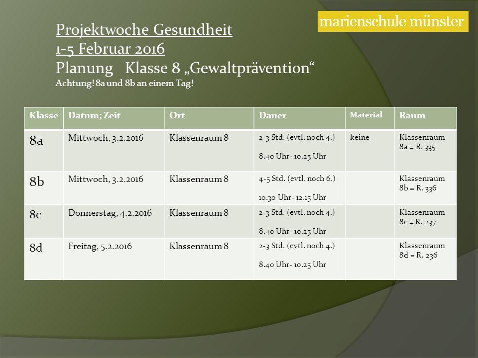 KlasseDatum; ZeitOrtDauer Material Raum 8a Mittwoch, 3.2.2016Klassenraum 8 2-3 Std.