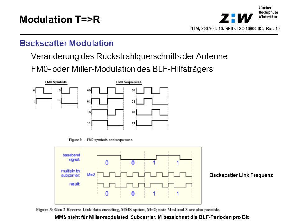 NTM, 2007/06, 10. RFID, ISO 18000-6C, Rur, 10 Modulation T=>R Backscatter Modulation Veränderung des Rückstrahlquerschnitts der Antenne FM0- oder Mill