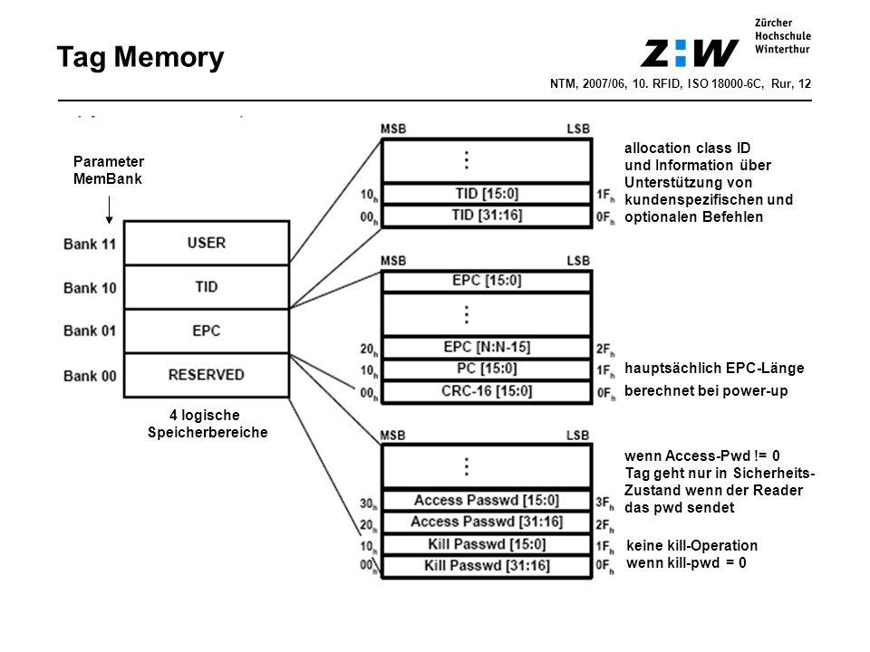 NTM, 2007/06, 10. RFID, ISO 18000-6C, Rur, 12 Tag Memory wenn Access-Pwd != 0 Tag geht nur in Sicherheits- Zustand wenn der Reader das pwd sendet kein