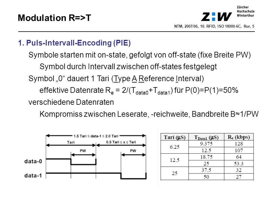 NTM, 2007/06, 10. RFID, ISO 18000-6C, Rur, 5 Modulation R=>T 1. Puls-Intervall-Encoding (PIE) Symbole starten mit on-state, gefolgt von off-state (fix