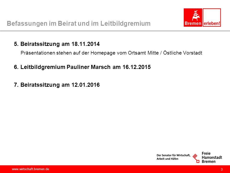 www.wirtschaft.bremen.de 3 Befassungen im Beirat und im Leitbildgremium 5. Beiratssitzung am 18.11.2014 Präsentationen stehen auf der Homepage vom Ort
