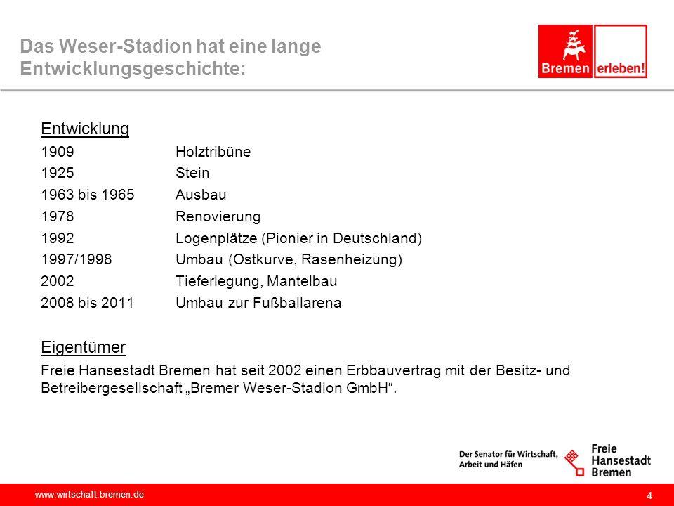 www.wirtschaft.bremen.de 4 Das Weser-Stadion hat eine lange Entwicklungsgeschichte: Entwicklung 1909 Holztribüne 1925 Stein 1963 bis 1965 Ausbau 1978R