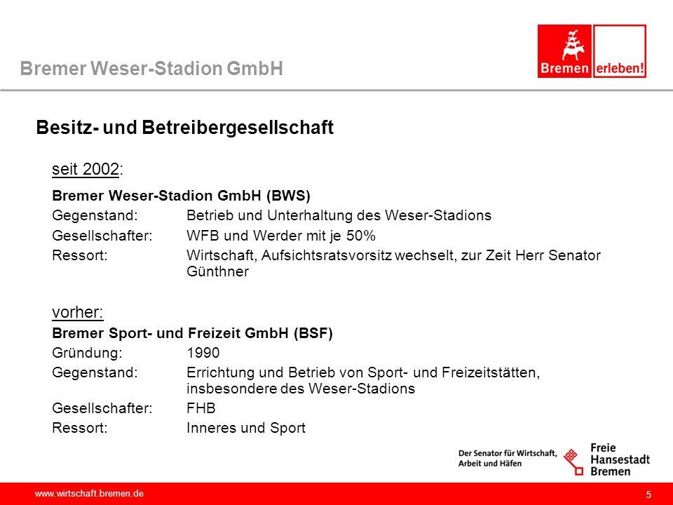 www.wirtschaft.bremen.de 5 Bremer Weser-Stadion GmbH seit 2002: Bremer Weser-Stadion GmbH (BWS) Gegenstand: Betrieb und Unterhaltung des Weser-Stadion