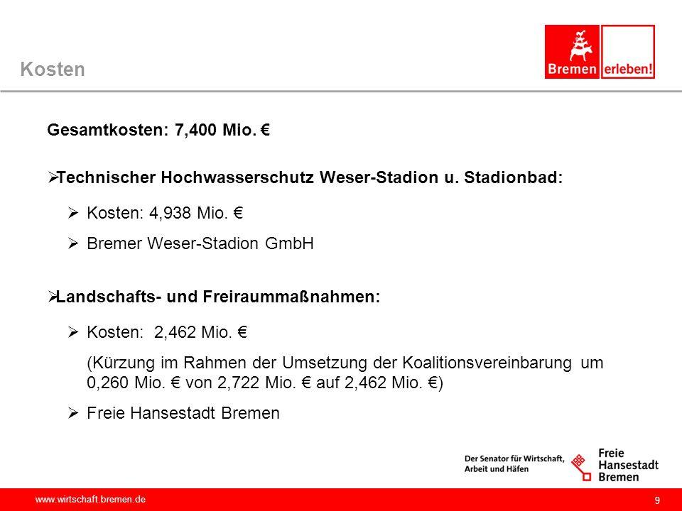 www.wirtschaft.bremen.de Kosten Gesamtkosten: 7,400 Mio. €  Technischer Hochwasserschutz Weser-Stadion u. Stadionbad:  Kosten: 4,938 Mio. €  Bremer