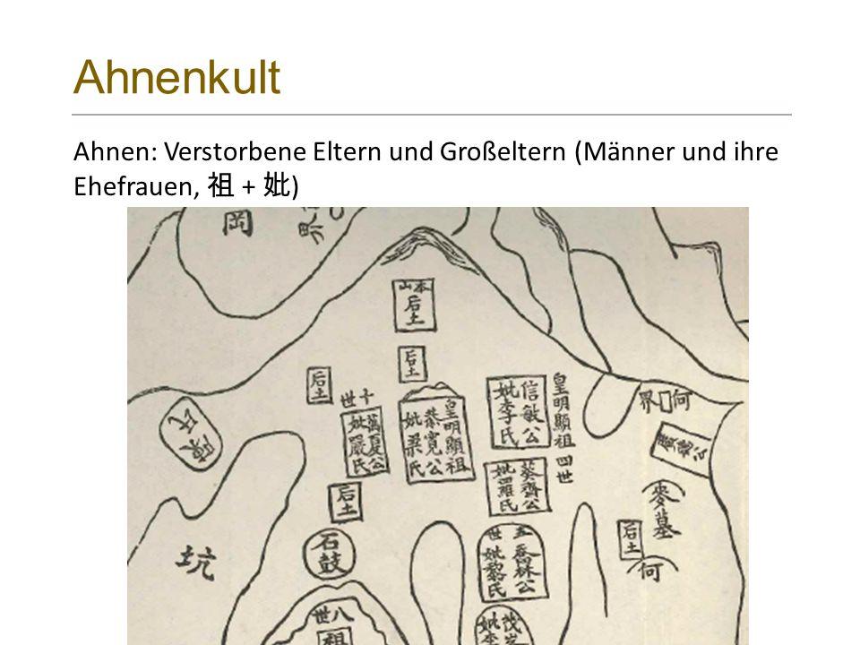 Ahnenkult Ahnen: Verstorbene Eltern und Großeltern (Männer und ihre Ehefrauen, 祖 + 妣 )