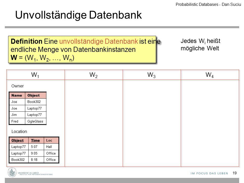 Unvollständige Datenbank 19 Definition Eine unvollständige Datenbank ist eine endliche Menge von Datenbankinstanzen W = (W 1, W 2, …, W n ) Jedes W i