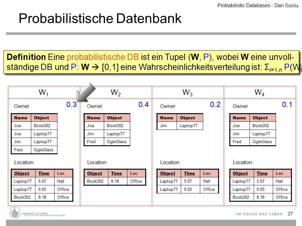 Probabilistische Datenbank 27 ObjectTime Loc Laptop775:07Hall Laptop779:05Office Book3028:18Office Location NameObject JoeBook302 JoeLaptop77 JimLapto