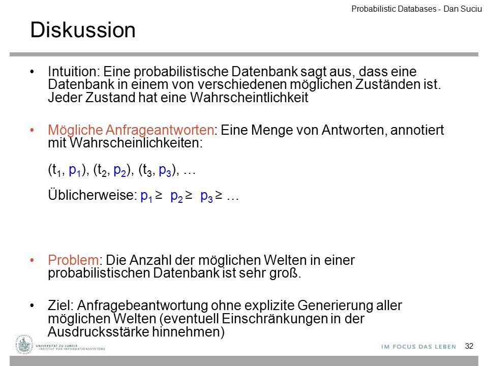 Diskussion Intuition: Eine probabilistische Datenbank sagt aus, dass eine Datenbank in einem von verschiedenen möglichen Zuständen ist. Jeder Zustand