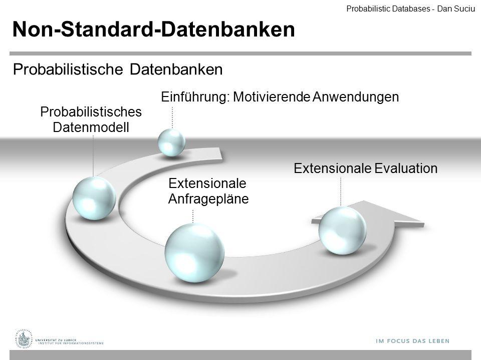 Probabilistisches Datenmodell Non-Standard-Datenbanken Extensionale Anfragepläne Extensionale Evaluation Probabilistische Datenbanken Einführung: Moti