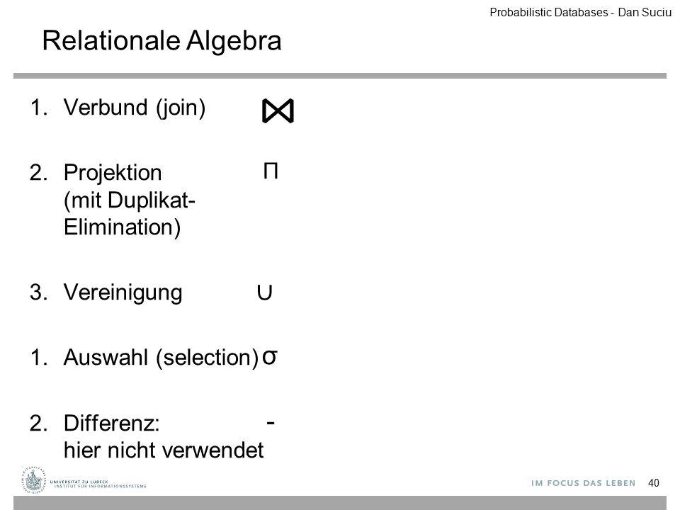 Relationale Algebra 1.Verbund (join) 2.Projektion (mit Duplikat- Elimination) 3.Vereinigung 1.Auswahl (selection) 2.Differenz: hier nicht verwendet 40