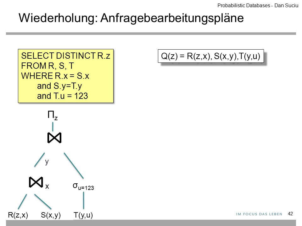 Wiederholung: Anfragebearbeitungspläne 42 SELECT DISTINCT R.z FROM R, S, T WHERE R.x = S.x and S.y=T.y and T.u = 123 SELECT DISTINCT R.z FROM R, S, T WHERE R.x = S.x and S.y=T.y and T.u = 123 ⋈y⋈y ΠzΠz ⋈x⋈x σ u=123 R(z,x)S(x,y)T(y,u) Q(z) = R(z,x), S(x,y),T(y,u) Probabilistic Databases - Dan Suciu