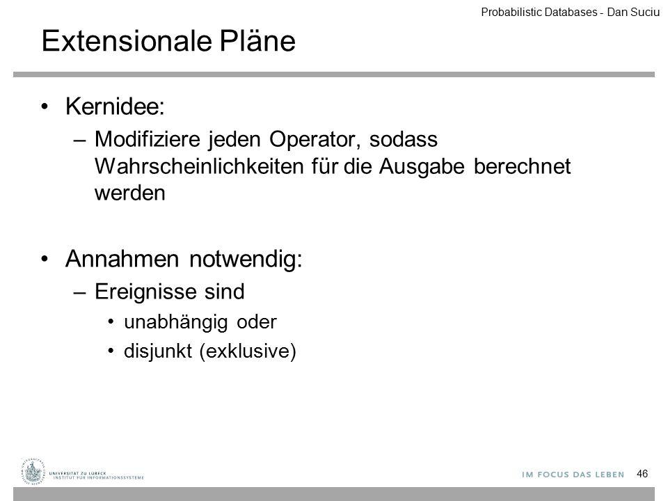 Extensionale Pläne Kernidee: –Modifiziere jeden Operator, sodass Wahrscheinlichkeiten für die Ausgabe berechnet werden Annahmen notwendig: –Ereignisse
