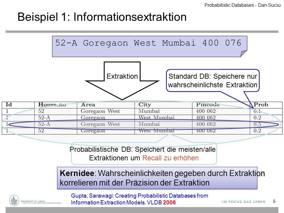 ABP a1b1q1 a1b2q2 a2b3q3 a2b4q4 a2b5q5 S(A,B) AP a1p1 a2p2 a3p3 R(A) ⋈ ABP a1b1p1*q1 a1b2p1*q2 a2b3p2*q3 a2b4p2*q4 a2b5p2*q5 Extensionale Pläne in PostgreSQL SELECT R.A, S.B, R.P*S.P FROMR, S WHERE R.A=S.A 56 i Probabilistic Databases - Dan Suciu