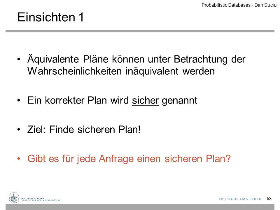 Einsichten 1 Äquivalente Pläne können unter Betrachtung der Wahrscheinlichkeiten inäquivalent werden Ein korrekter Plan wird sicher genannt Ziel: Find