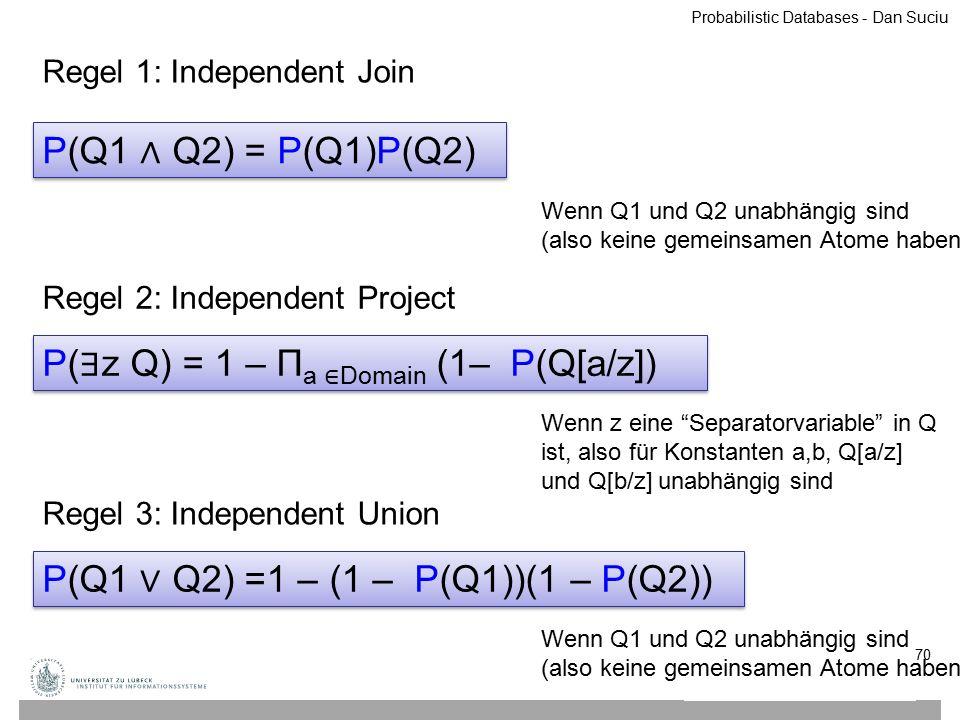 70 P(Q1 ∧ Q2) = P(Q1)P(Q2) Wenn Q1 und Q2 unabhängig sind (also keine gemeinsamen Atome haben) P( ∃ z Q) = 1 – Π a ∈ Domain (1– P(Q[a/z]) Wenn z eine