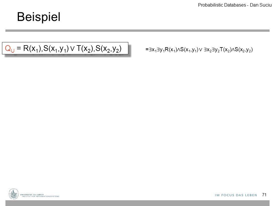 Beispiel 71 Q U = R(x 1 ),S(x 1,y 1 ) ∨ T(x 2 ),S(x 2,y 2 ) = ∃ x 1 ∃ y 1 R(x 1 ) ∧ S(x 1,y 1 ) ∨ ∃ x 2 ∃ y 2 T(x 2 ) ∧ S(x 2,y 2 ) Probabilistic Data