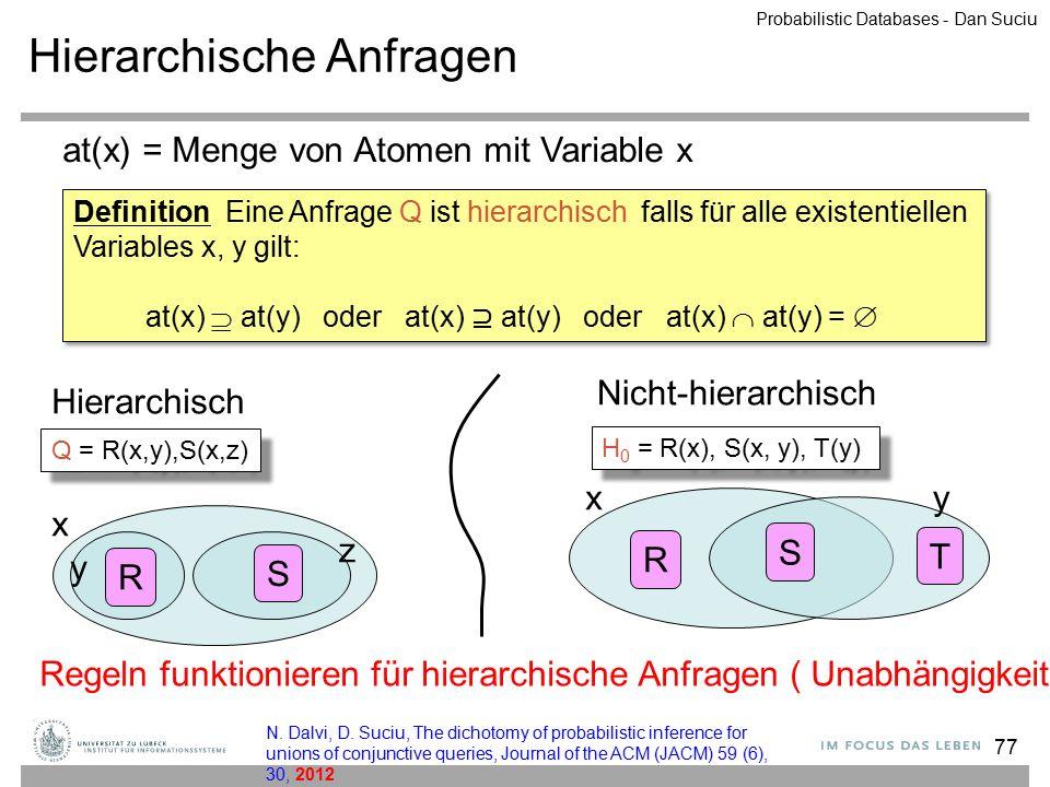 77 Hierarchische Anfragen at(x) = Menge von Atomen mit Variable x R S xy T Nicht-hierarchisch R S x z Hierarchisch y Q = R(x,y),S(x,z) H 0 = R(x), S(x