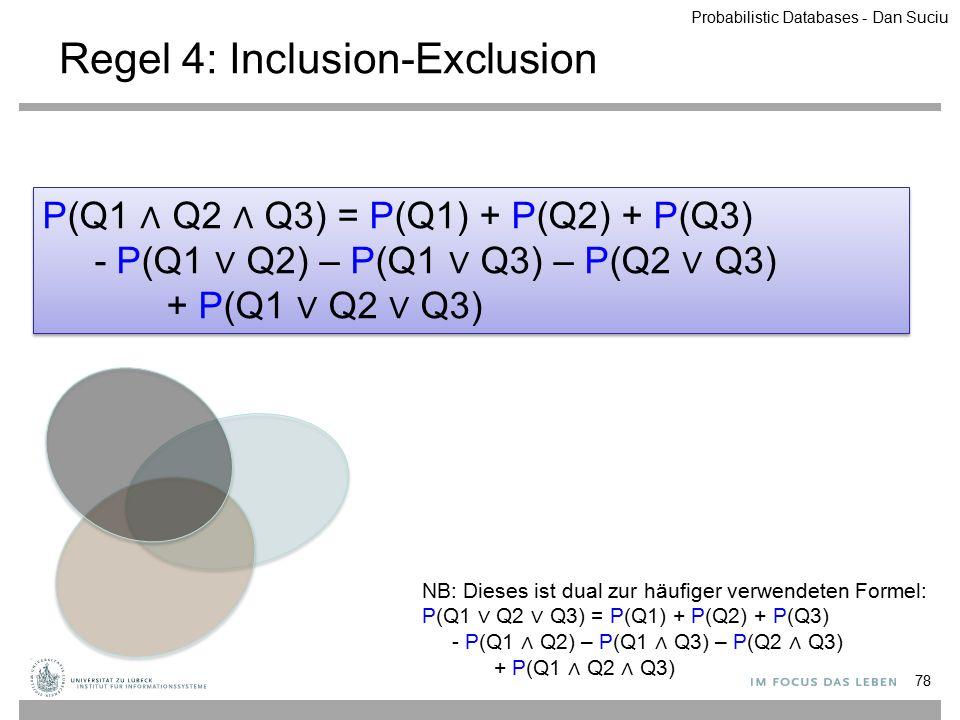 Regel 4: Inclusion-Exclusion P(Q1 ∧ Q2 ∧ Q3) = P(Q1) + P(Q2) + P(Q3) - P(Q1 ∨ Q2) – P(Q1 ∨ Q3) – P(Q2 ∨ Q3) + P(Q1 ∨ Q2 ∨ Q3) P(Q1 ∧ Q2 ∧ Q3) = P(Q1)