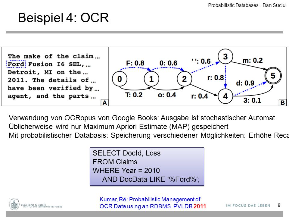 Probabilistische Datenbank: Anfragesemantik 29 Definition Gegeben eine Anfrage Q, eine probabilistische DB (W,P): Die Randwahrscheinlichkeit einer Antwort t ist: P(t) = Σ { P(W i ) | W i ∈ W, t ∈ Q(W i ) } Definition Gegeben eine Anfrage Q, eine probabilistische DB (W,P): Die Randwahrscheinlichkeit einer Antwort t ist: P(t) = Σ { P(W i ) | W i ∈ W, t ∈ Q(W i ) } ObjectTime Loc Laptop775:07Hall Laptop779:05Office Book3028:18Office Location NameObject JoeBook302 JoeLaptop77 JimLaptop77 FredGgleGlass Owner ObjectTime Loc Book3028:18Office Location NameObject JoeBook302 JimLaptop77 FredGgleGlass Owner ObjectTime Loc Laptop775:07Hall Laptop779:05Office Location NameObject JimLaptop77 Owner ObjectTime Loc Laptop775:07Hall Laptop779:05Office Book3028:18Office Location NameObject JoeBook302 JimLaptop77 FredGgleGlass Owner Q(z) = Owner(z,x), Location(x,t,'Office') Q(z) = Owner(z,x), Location(x,t,'Office') Probabilistic Databases - Dan Suciu