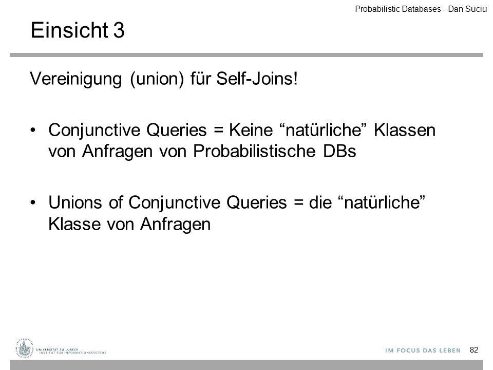 """Einsicht 3 Vereinigung (union) für Self-Joins! Conjunctive Queries = Keine """"natürliche"""" Klassen von Anfragen von Probabilistische DBs Unions of Conjun"""