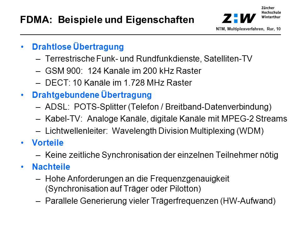FDMA: Beispiele und Eigenschaften Drahtlose Übertragung –Terrestrische Funk- und Rundfunkdienste, Satelliten-TV –GSM 900: 124 Kanäle im 200 kHz Raster