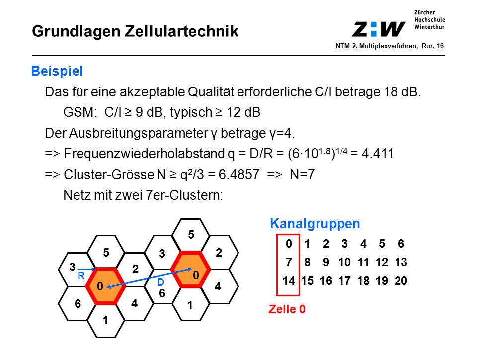 Grundlagen Zellulartechnik Beispiel Das für eine akzeptable Qualität erforderliche C/I betrage 18 dB. GSM: C/I ≥ 9 dB, typisch ≥ 12 dB Der Ausbreitung