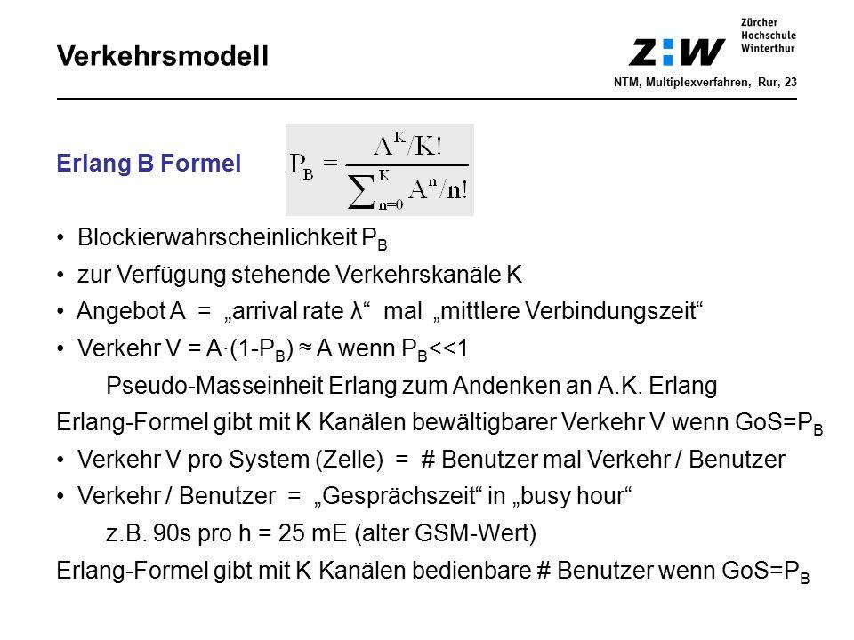 """Verkehrsmodell Erlang B Formel Blockierwahrscheinlichkeit P B zur Verfügung stehende Verkehrskanäle K Angebot A = """"arrival rate λ"""" mal """" mittlere Verb"""