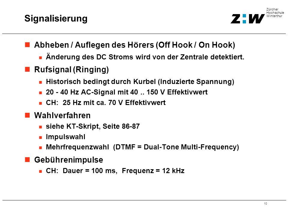 10 Zürcher Hochschule Winterthur Abheben / Auflegen des Hörers (Off Hook / On Hook) Änderung des DC Stroms wird von der Zentrale detektiert. Rufsignal