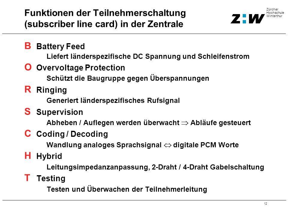 12 Zürcher Hochschule Winterthur B Battery Feed Liefert länderspezifische DC Spannung und Schleifenstrom O Overvoltage Protection Schützt die Baugrupp