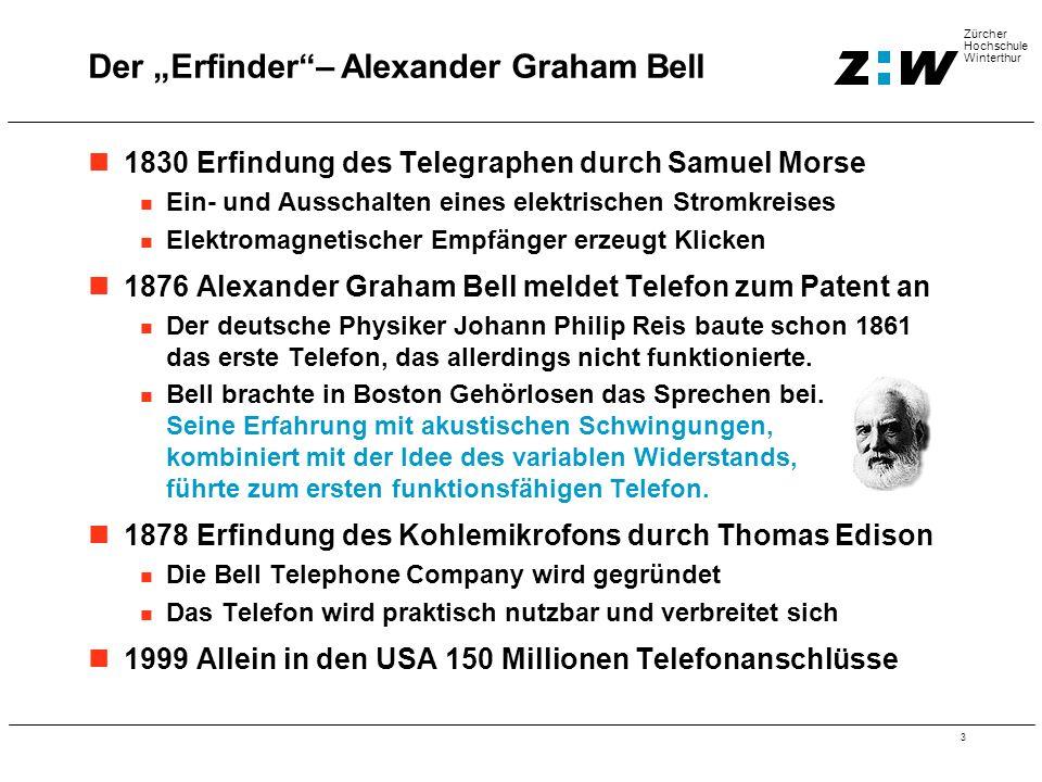 3 Zürcher Hochschule Winterthur 1830 Erfindung des Telegraphen durch Samuel Morse Ein- und Ausschalten eines elektrischen Stromkreises Elektromagnetischer Empfänger erzeugt Klicken 1876 Alexander Graham Bell meldet Telefon zum Patent an Der deutsche Physiker Johann Philip Reis baute schon 1861 das erste Telefon, das allerdings nicht funktionierte.