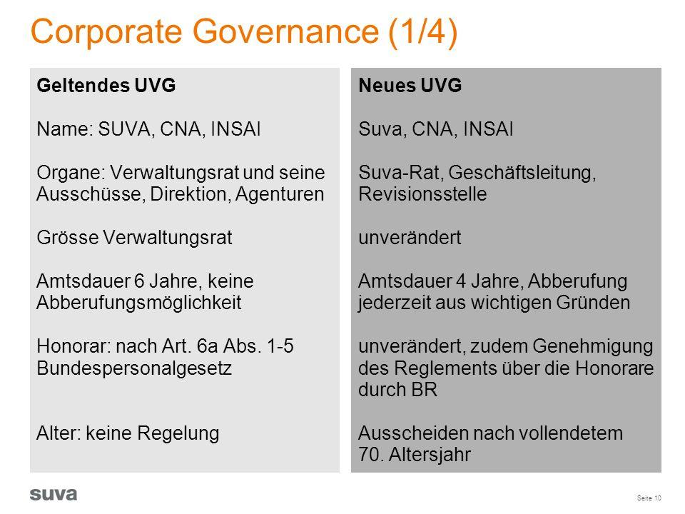 Seite 10 Corporate Governance (1/4) Geltendes UVG Name: SUVA, CNA, INSAI Organe: Verwaltungsrat und seine Ausschüsse, Direktion, Agenturen Grösse Verw