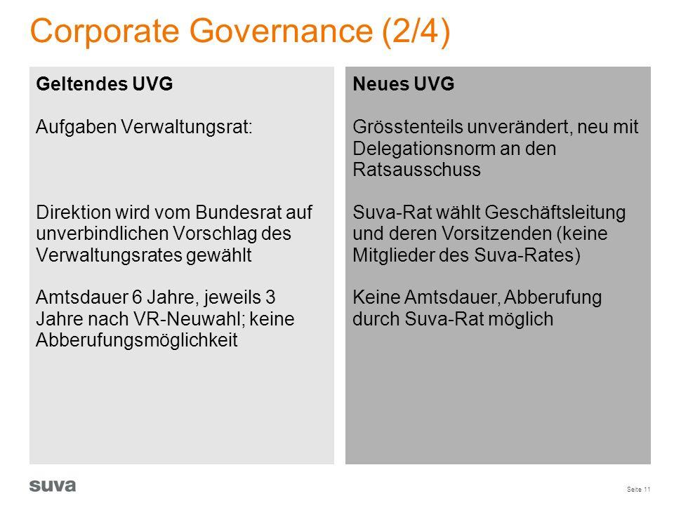 Seite 11 Corporate Governance (2/4) Geltendes UVG Aufgaben Verwaltungsrat: Direktion wird vom Bundesrat auf unverbindlichen Vorschlag des Verwaltungsr
