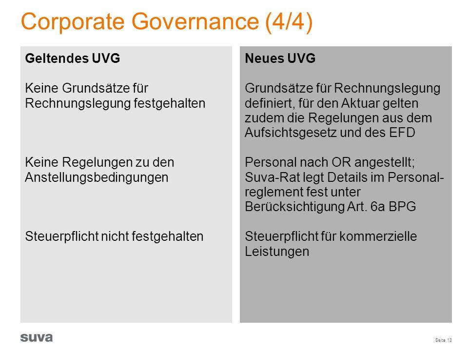 Seite 13 Corporate Governance (4/4) Geltendes UVG Keine Grundsätze für Rechnungslegung festgehalten Keine Regelungen zu den Anstellungsbedingungen Ste